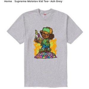 Supreme Molotov Kid Tee Ash Gray SS19.